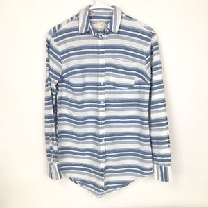 A new day blue white striped button up shirt XS